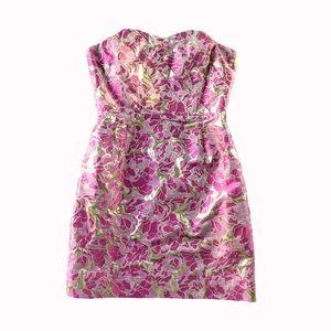 Lilly Pulitzer pink gold metallic dress size 0 EUC